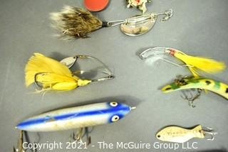 Collection of Vintage and Bakelite Fishing Lures with Box for Hildebrandts.