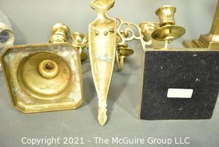 Group of Vintage Brass Candle Sticks With Pierced Shades and Wall Mounted Candleabra.