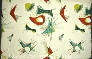 "Vintage Mid Century Art Deco Designed Barkcloth Fabric in Atomic Design.  Measures 3 3/4 yard x 48"" wide."