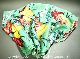 "Vintage Mid Century Art Deco Designed Barkcloth Fabric in Bird of Paradise Flower Design.  Measures 3 3/4 yard x 48"" wide."