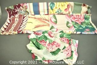 Partial Unfinished Quilt Made from Barkcloth Remnants in Various Patterns.