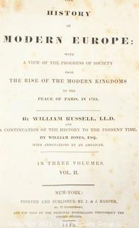 "(2) Leather Bound Volumes of ""Modern Europe"" circa 1832"