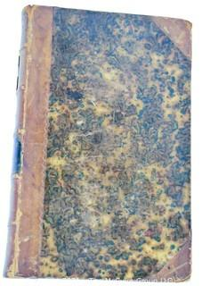 """Leather Bound Book titled """"The Works of Rev. Sydney Smith"""", circa 1850's. Marbled Cover"""