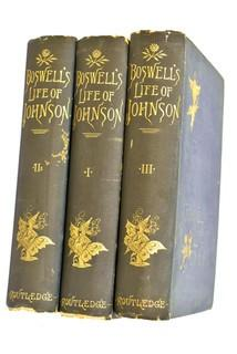 The Life of Samuel Johnson by James Boswell (3 Volume Set) published by Routledge. c 1865
