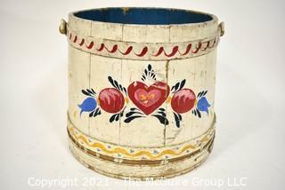 "Antique Primitive Pennsylvania Dutch Folk Art Painted Firkin or Sugar Bucket. Circa 1800.  Measures 13"" tall excluding handle x  22"" diameter. {Note: Description Altered 10.14.2021 @ 6:46pm ET}"