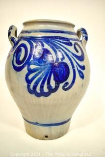 "19th Century Salt Glazed Stoneware Flower Freehand Decorated Crock.  9"" diameter x 22"" tall. {Note: Description Altered 10.14.2021 @ 6:46pm ET}"