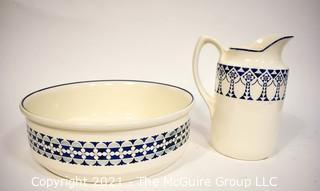 Circa 1900 German Porcelain Art Deco Decorated Pitcher and Basin marked Borussia and Freya Annaburg Musterschutz. {Note: Description Altered 10.14.2021 @ 6:46pm ET}