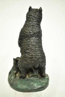 """Standing Cast Bronze Grizzley Bear Statue Signed by Artist CAN.  Measures 14""""T x 8""""W {Note: Description Altered 10.14.2021 @ 6:46pm ET}"""