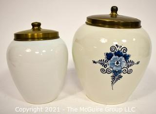 Two Maryland & Catonsville Blue Delft Tobacco Jars with Brass Lids. {Note: Description Altered 10.14.2021 @ 6:46pm ET}