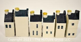 """Six (6) KLM BOLS Delft Blue Porcelain House Form Liquor Bottles with Wax Seals.  These Delftware miniature Dutch houses were issued to passengers on KLM """"Royal Class"""" and later KLM """"Business Class"""" flights. {Note: Description Altered 10.14.2021 @ 6:46pm ET}"""