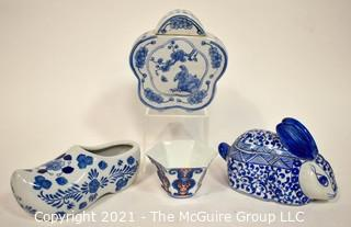 Four (4) Blue and White Hand Painted Porcelain Decorative Items From Thailand and China. {Note: Description Altered 10.14.2021 @ 6:46pm ET}