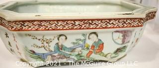 Three Antique (3) Asian Items: Wood Carved Canteen, Porcelain Bonsai Planter with Chopmark and Porcelain Plate. {Note: Description Altered 10.14.2021 @ 6:46pm ET}