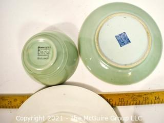 Four (4) Porcelain Serving Items Including Green French Majolica Oyster Plate in Longchamp Pattern, Italian Painted Jug, Woods Ware Beryl Celadon Sage Green Cup and Asian Celadon Plate with Wax Seal Certifying as Antique {Note: Description Altered 10.14.2021 @ 6:46pm ET}