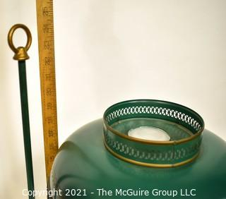 Vintage Green Metal Tole Painted Bouillotte Table Lamp