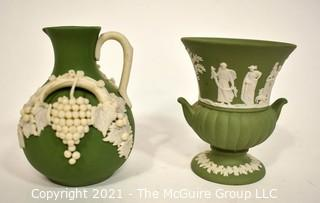 """Two (2) Small Decorative Pieces of Wedgwood Porcelain Sage Green Jasperware - Urn and Pitcher.  They Measure 4"""" tall."""