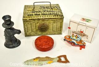 Patterson's Seal Cut Plug Tobacco Tin, Primitive Metal Horse Candlestick, Fish Bottle Opener, Cinnabar Box and Tin Litho Steamboat Ornament in Box.