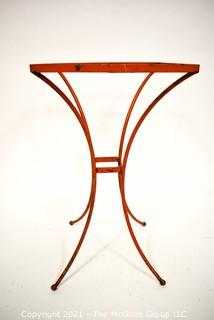 """Vintage Orange Wrought Iron Table Missing Insert. Measures 18"""" tall and 11"""" square."""