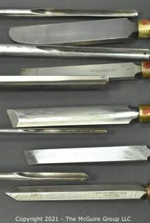 Ten (10) Professional High Speed Steel (HSS) Robert Sorby Professional Gouges, Scrapers, Skews, Beading, Parting, Spindle Turning Tools.   Ash Handles