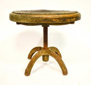 """Primitive Stool with Cast Iron Swivel Base. 12"""" tall."""