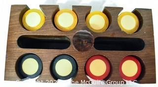 Bakelite Poker Chips in Wood Case.