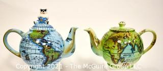 Two (2) Porcelain World Globe Teapots Made by  By Paul Cardew England,