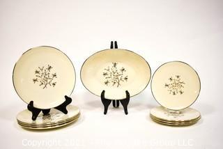 "Nine (9) pieces of Vintage Lenox ""Princess"" Porcelain China with Platinum Edge."