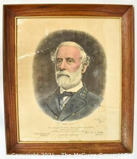 Framed Under Glass Engraving of Confederate General Robert E. Lee, sold by authority of the Lee Memorial Association for the erection of a Monument at the tomb of General Lee at the Washington & Lee College, Lexington, VA. Published by Bradley and Company, New York, 1870.