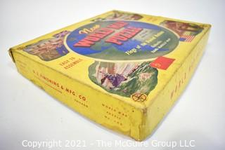 Vintage 1943 WWII Rand-McNally New World Map Puzzle, Flags of the United Nations.