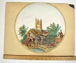 """Vintage Unframed Hand Colored Landscape of Carisbrook, Isle of Wight, Signed by Artist W. Cousins, 1840. Measures 14"""" x 18""""."""