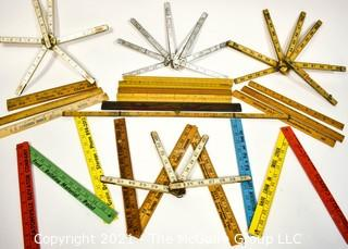 Collection of Folding Carpenters Rulers & Yard Sticks.