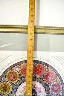 """Framed Under Glass 1981 Roundel of the Seasons Zodiac Print by Sheila Waters.  Measures 24"""" Square."""