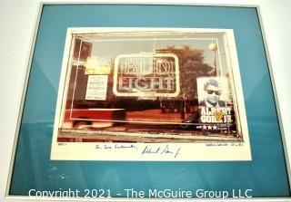 """Framed Under Glass Altered Photograph """"Artist's Proof"""" Signed by Artist Pamela D Needham, 1984 with Personalized Inscription from Albert (Al) Gore."""