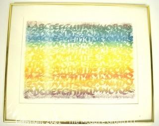 """Framed Under Glass Color Lithograph """"Alphabet"""" 1977 Signed and Numbered by Artist Julian Waters, Master Calligrapher.  Measures 18"""" x 22""""."""