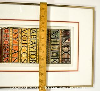 """Framed Under Glass Color Lithograph """"Title Page of Illuminated Manuscript"""" 1977 Signed and Numbered by Artist Sheila Waters, Master Calligrapher. Measures 12"""" x 20""""."""