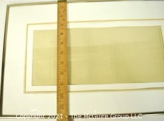 """Framed Under Glass Original """"Embossing as on Illuminated Manuscript"""" 1978 Signed by Sheila Waters.  Measures 12""""  x 20""""."""
