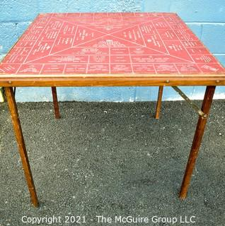 """Vintage Wooden Folding Table with Advertising From Oxford, Pennsylvania. Measures 30"""" square x 27"""" tall"""