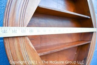 """Vintage Round Wood Wall Display Shelf.  Measures 25"""" in diameter and 6"""" deep."""