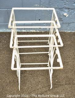 Vintage Set of Three (3) White Wrought Iron Nesting Tables Missing Tops.