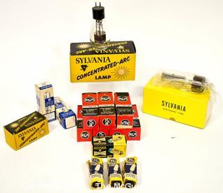 NOS Collection of Vintage Electric Bulbs and Tubes in Boxes.