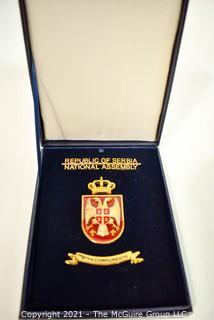 Vintage Republic Of Serbia National Assembly Medal in Velvet Presentation Box