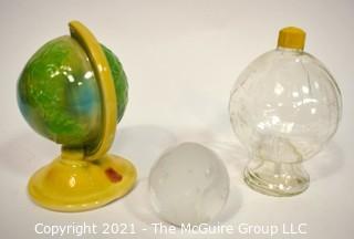 Vintage Shawnee Pottery Globe Planter, Glass Globe Jar and Crystal Globe Paperweight.