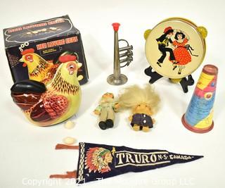 Group of Vintage Toys Including Mechanical Hen Laying Eggs with Original Box.