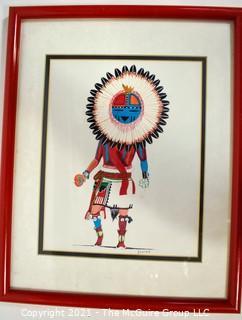 "Framed Under Glass Hopi 1997 TAWA Sun Kachina Signed by Artist Robert Duree Brown.  Measures 12"" x 15""."