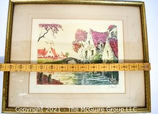 """Framed Under Glass Color Lithograph Signed By Artist.  Measures 12"""" x 15""""."""
