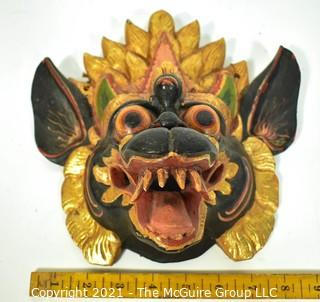 """Bali or Indonesian Carved Wooden Dragon Mask. Measures 9"""" x 9"""" x 4""""."""