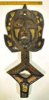 """Hand Carved and Gilt Painted Tribal Mask with Handle Base. African. Ethnographic. Measures 19"""" x 9"""""""