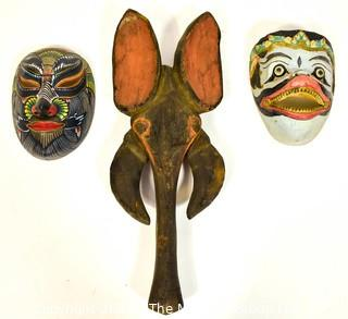Three (3) Painted and Hand Carved Wooden Masks.