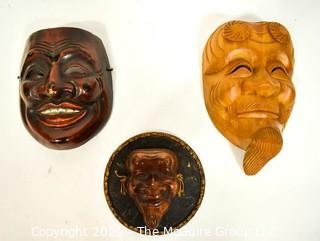 Three (3) Asian Style Carved Wooden Masks, Ethnographic.