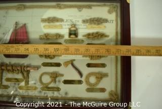 """Framed Under Glass Nautical Knots Shadow Box.  Measures 12"""" x 24""""."""