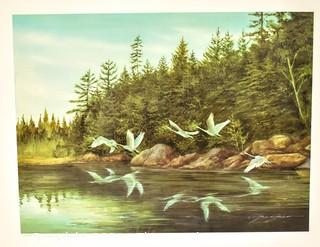 """Unframed Signed and Numbered Geese Over Pond.  Measures 21"""" x 25"""""""
